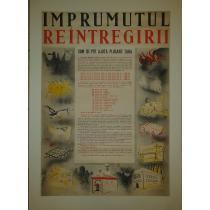 AFIS ORIGINAL, IMPRUMUL REINTREGIRII ROMANIEI , grafica executata de Pictorita Lili Pancu, 1941