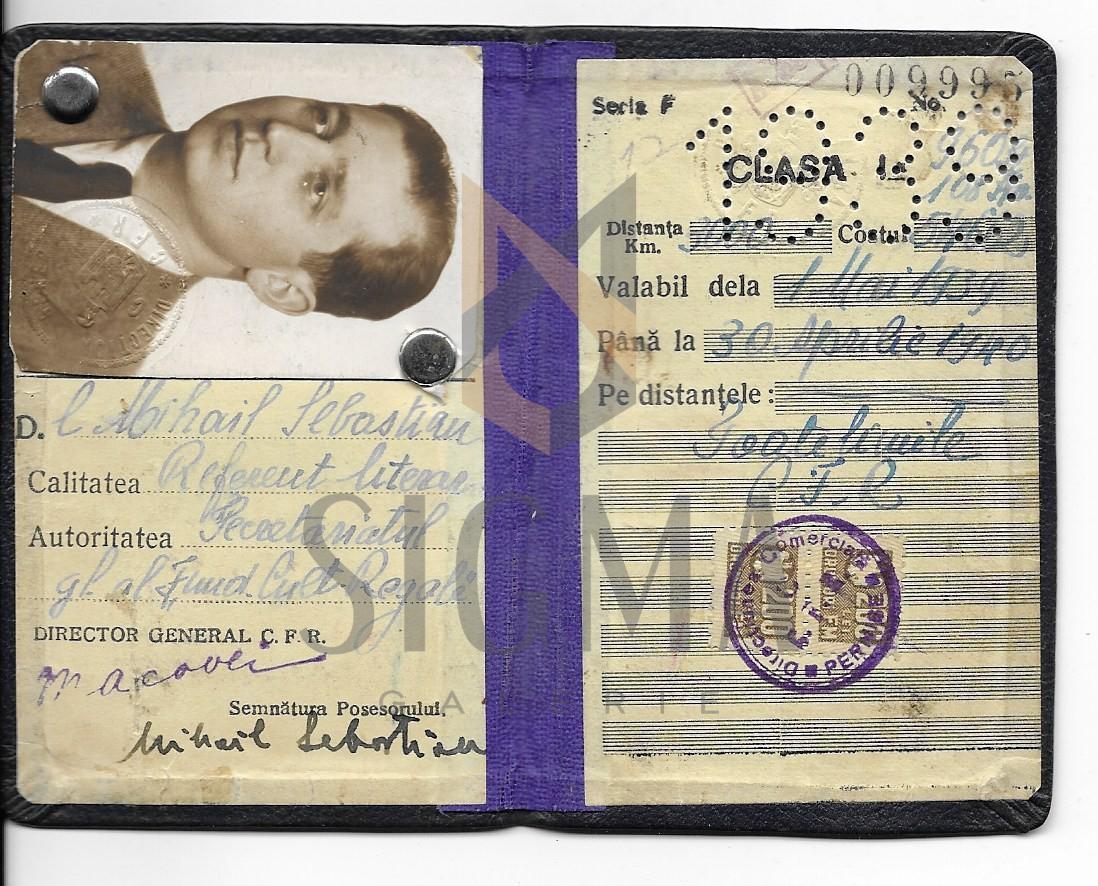 MIHAIL SEBASTIAN, LEGITIMATIE C.F. R., 1939