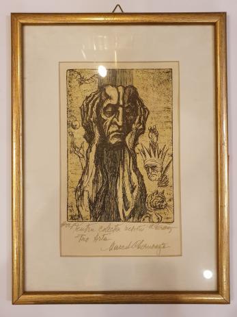 "TABLOU, MARCEL CHIRNOAGA "" GANDITORUL  "", E.A. (Exemplar de Artist!) dedicatie !"