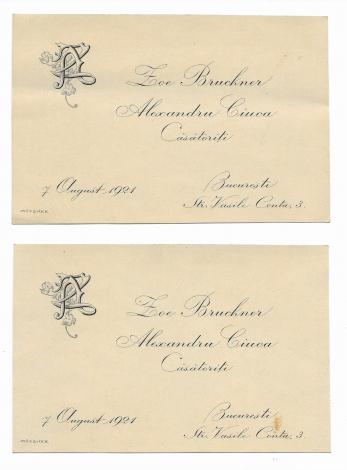 INVITATII DE NUNTA, BUCURESTI, 2 BUC,   grafica Samuel Mutzner - pictor, 1921