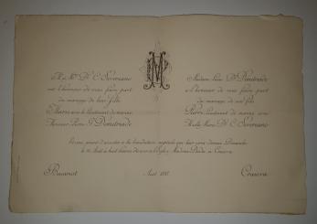 INVITATIE DE NUNTA, MARIA ( fiica Doctorului C. Severeano ) cu Locotenent de Marina Petre Demetriade , Craiova, 1893