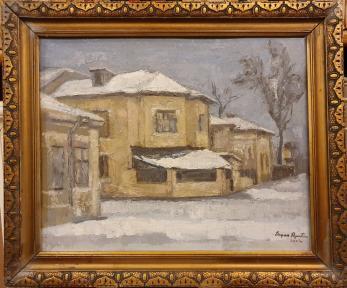 "TABLOU, EUGEN RAPORTORU, "" IARNA IN BUCURESTI "", U/C, 2002"
