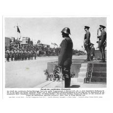 FOTOGRAFIE DE PRESA, PARADA ARMATEI ROMANE, 15.06 1943, REGELE MIHAI SI MARESALUL ANTONESCU