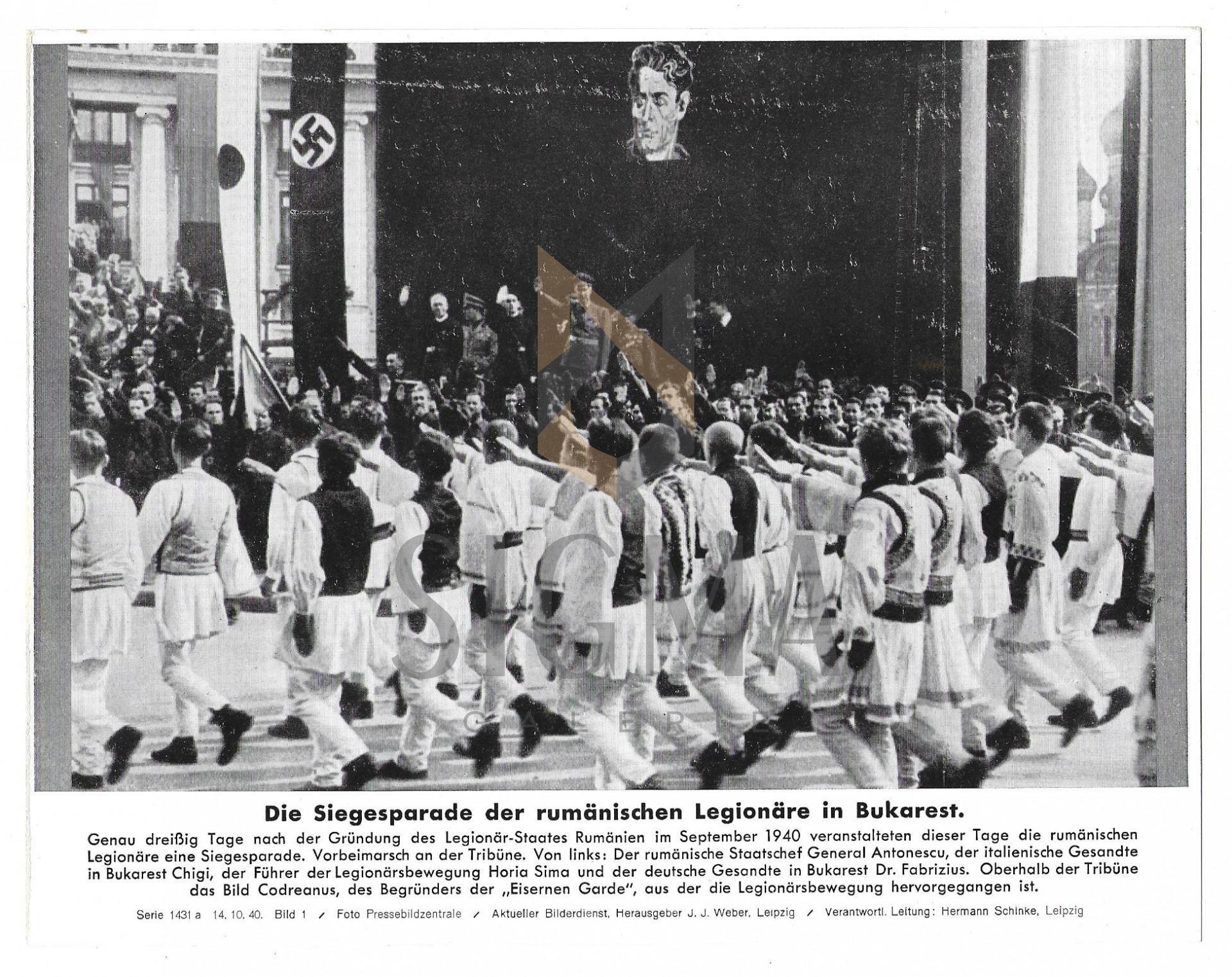 FOTOGRAFIE DE PRESA, MANIFESTATIA MISCARII LEGIONARE , HORIA SIMA, MARESALUL ION ANTONESCU, 1940