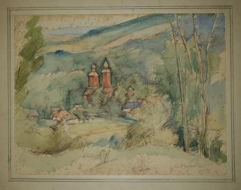 EMIL NICOLESCU NIC , PEISAJ LA VARATEC , acuarela, 1940