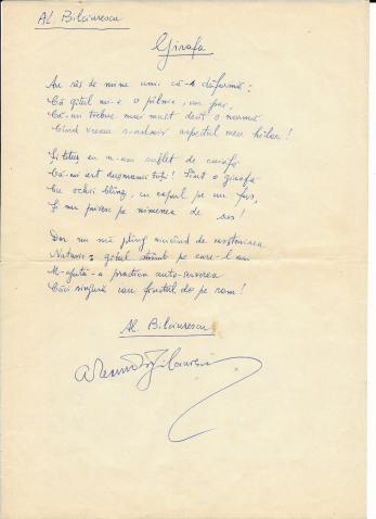 """ALEXANDRU BILCIURESCU, """" GIRAFA"""" , poezie/manuscris"""