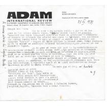 "SCRISOARE, REVISTA "" ADAM"" - MIRON GRINDEA -director catre ISAC PELTZ, 1979"