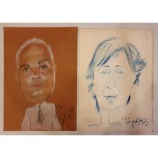 STEFAN POPA POPA'S , AUTOPORTRET / CARICATURA , carbune /pastel, 1993