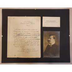 SCRISOARE, CARTE DE VIZITA, FOTO- MIHAIL DRAGOMIRESCU catre Primarul Craiovei Bust Ioan Maiorescu, 1913 Craiova