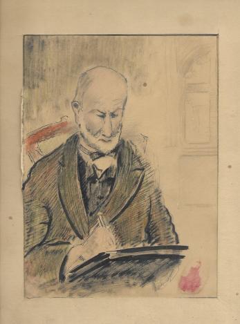 C. C. CONSTANTINESCU ( ALI BABA ) , PORTRETUL PICTORULUI THEODOR PALLADY, tehnica mixta