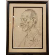 TABLOU, GEORGE LOWENDAL , PORTRET DE BARBAT , creion/ hartie, 1940