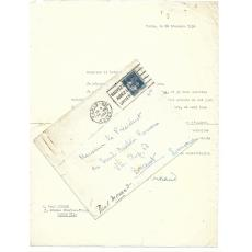 SCRISOARE / DOCUMENT , PAUL MORAND - CERCUL ANALELOR ROMANE, 1934