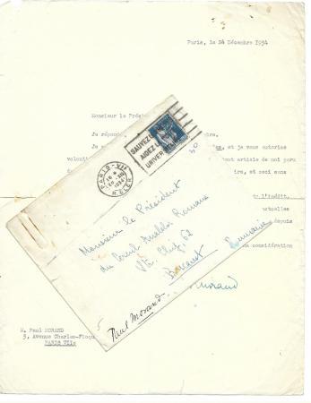 SCRISOARE / DOCUMENT , PAUL MORAND - CERCUL ANALELOR ROMANE, 1934