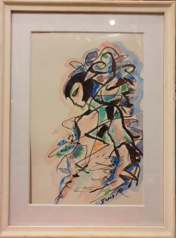 "TABLOU, RODICA PANDELE, "" MEDITATIE "" , tus/acuarela, 2004"