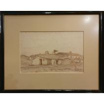 "TABLOU, CONSTANTIN ARTACHINO, "" BORDEIE LA MANGALIA"" , sepia /carbune brun"