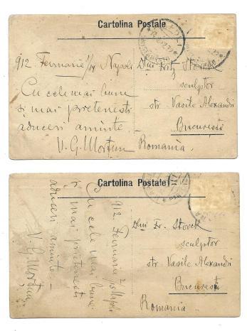 CORESPONDENTA V. G. MORTUN SI  SCULPTORUL FR. STORCK , 2 carti postale , 1912
