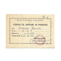 SCULPTORUL CORNEL MEDREA, PERMIS DE INTRARE IN MINISTER ( CULTURII ), 1957