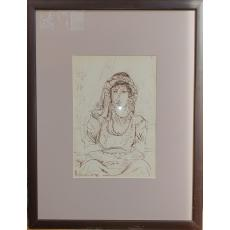 TABLOU, ION  THEODORESCU - SION, PORTRET DE AROMANCA, tus / hartie 1934