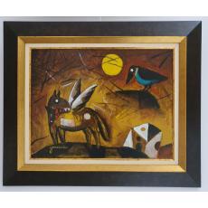 TABLOU, VALERIU GONCEARIUC, POUCSTE, ACRIL / PANZA, 35 X 45 cm