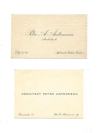 Ahitect PETRE ANTONESCU , 2 CARTI DE VIZITA