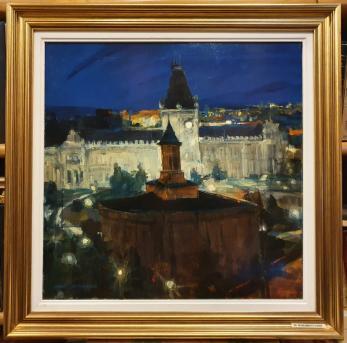 """TABLOU, GABRIEL GHEORGHIU, """" MONUMENTE IESENE"""" tempera cu emulsie, 50cm x 50 cm ,"""