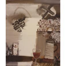 """TABLOU, ION SALISTEANU, """" DESPRE CAVE SI VINURI PE VALEA LOIREI - FRANTA"""" , A/P, 2001"""
