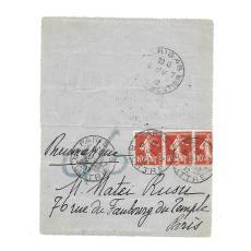 EDUARD DE MAX ( 1869- 1924 )  ACTOR DE ORIGINE ROMANA, SCRISOARE CATRE MATEI RUSU, 1912
