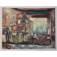 """TABLOU, CONSTANTIN CALAFATEANU, """" ATELIERUL ARTISTULUI """" , U/ P, 1984"""