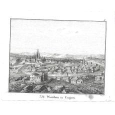 """GRAVURA, Panorama orasului ORADEA """" WARDEIN IN UNGARN """" , autor Carl Hellfarth""""s , 1828"""