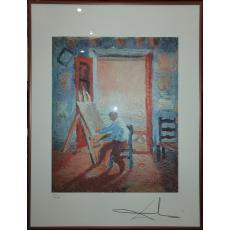"TABLOU, SALVADOR DALI, "" PAINTER "" , cromolitografie, Ex. 1500/2000"