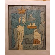 PETRESCU PETRU VIRGILIU, SILUETA CU VAPOARE, xilogravura color