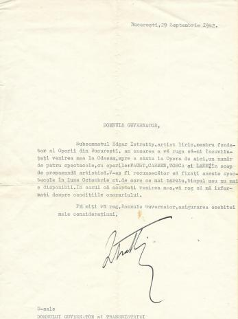 CERERE PENTRU SPECTACOL OPERETA ODESSA GUVERNATOR TIRASPOL, 29 SEPTEMBRIE 1942