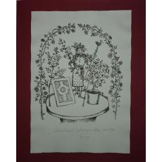 "STEFAN CALTIA, "" GRADINARUL "" . litografie, ex. 87/100 , 2014"