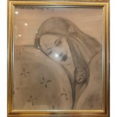 "TABLOU, MATEI SERBAN, "" PERSONAJ FEMININ"" , creion / hartie, 2003"