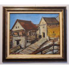 """TABLOU, MATILDA ( MATHILDA ) ULMU, """" PEISAJ CU CASE """" , ulei pe carton, 1987"""