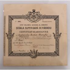 SCOALA SUPERIOARA DE RASBOIU, CERTIFICAT DE ABSOLVIRE, ( semnat Maresalul Antonescu ) , 1928