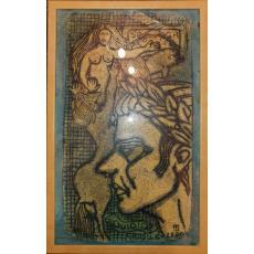 """TABLOU, CRISTEA GROSU, """" TOMIS - OVIDIUS  """" ilustratie la carte , 1988"""