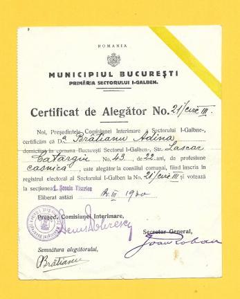 CERTIFICAT DE ALEGATOR, MUNICIPIUL BUCRESTI - SECTOR  1 - GALBEN, 1930