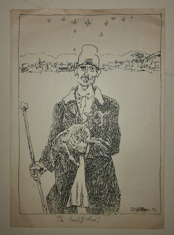 """TRAIAN BARDEAN , """" FELICITARE """"  CIOBANA/ MAICA DOMNULUI, litografie, 1994"""