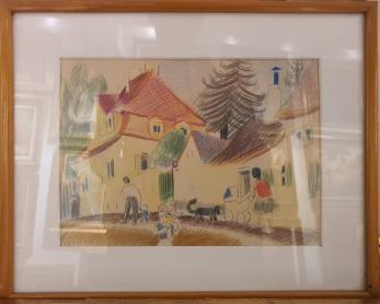 TABLOU, LUCIA DEM. BALACESCU, PLIMBARE PRIN ORAS ( SIBIU ), 1958