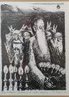 """TABLOU, Ștefan Câlția ,"""" GOLEMUL """" litografie, 1987"""