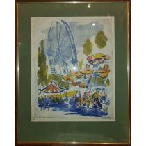 """TABLOU, FRED MICOS, """" ROATA MARE"""" , gravura policroma, exemplar de artist"""