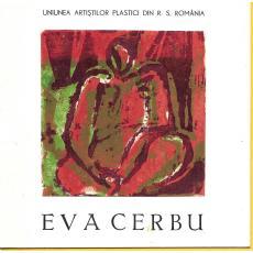"EVA CERBU, CATALOG EXPOZITIE, Galeria "" Orizont"" mai 1988 , coperta linogravura color"
