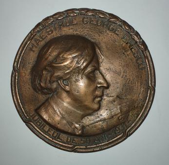 "ION DIMITRIU - BARLAD, "" GEORGE ENESCU - PLACHETA JUBILIARA"" , bronz, 1931"