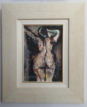"TABLOU, HOREA CUCERZAN, "" NUD VAZUT DIN SPATE "" , ulei/ panza , 2008"