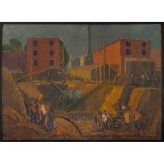 """Tablou, H. H. Catargi, """" SANTIER """" , u/p/c, 1957"""