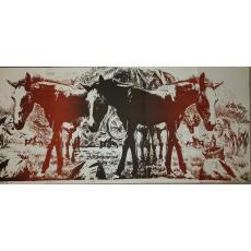 "MARCEL CHIRNOAGA , "" OAMENII / CAII DE TRACTIUNE "" , litografie , E.A., 1971"