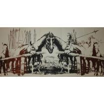 """MARCEL CHIRNOAGA, """" OAMENII / CAII DE LUPTA """" , litografie, E.A. , 1971"""