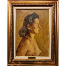"""TABLOU, OTTO BRIESE, """" MARIA - SOTIA ARTISTULUI """" , ulei / carton, 1944"""