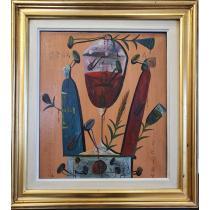 """TABLOU, STEFAN PELMUS, """" GRAAL """" , ulei pe panza, 1994"""